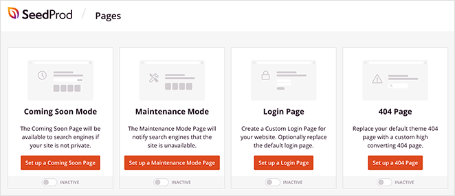 SeedProd landing page modes