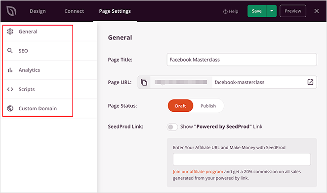 sign up page settings