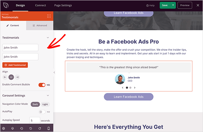 Add testimonials to your facebook landing page