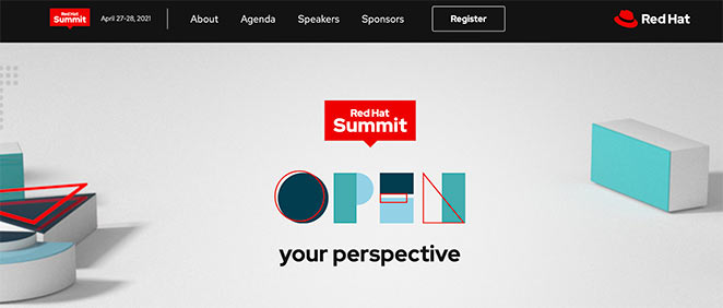 Red hat summit event landing page