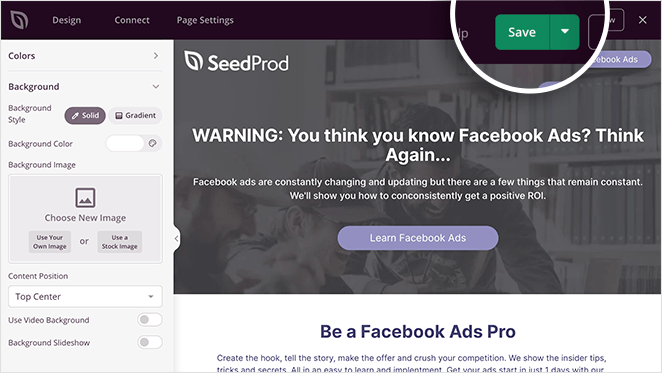 Remember to save your Facebook landing page design