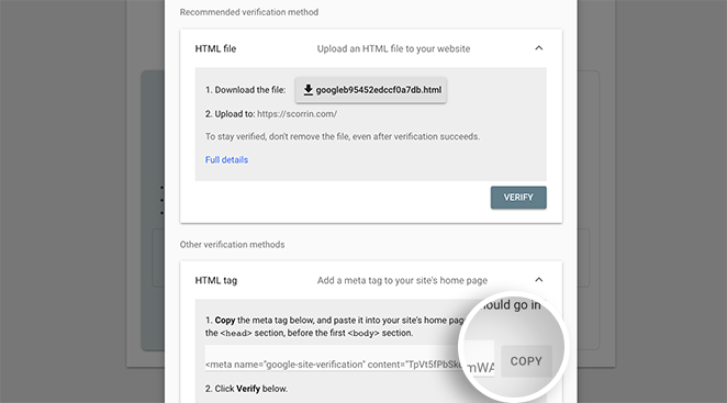Select the HTML tag verification method