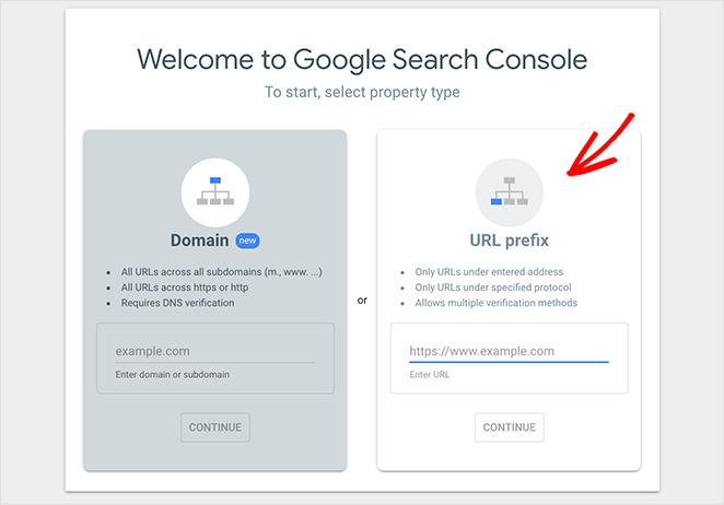 Choose the Google Search Console URL prefix option
