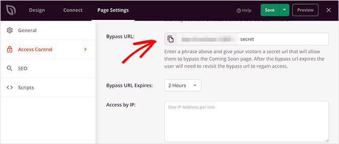 Use the bypass URL to let clients preview their WordPress site before going live