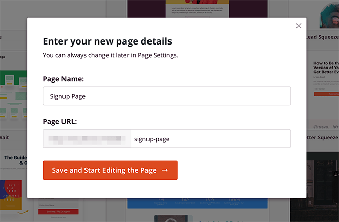 Enter a name and URL for your signup page