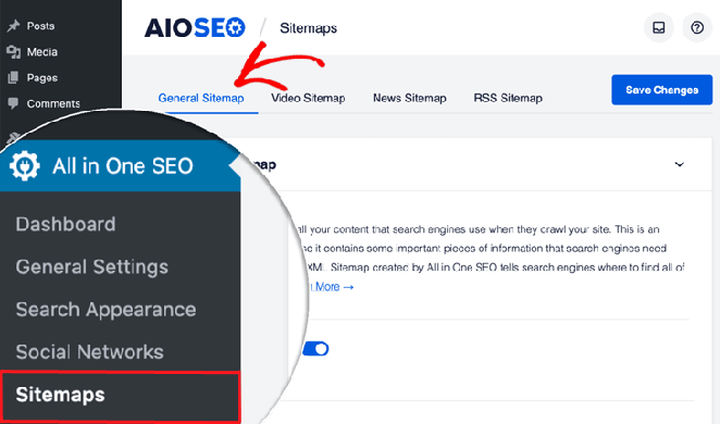 check if it's enabled by navigating to All in One SEO menu » Sitemaps and click on the General Sitemap tab.