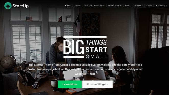 Startup is an excellent WordPress business theme by Organic Themes.