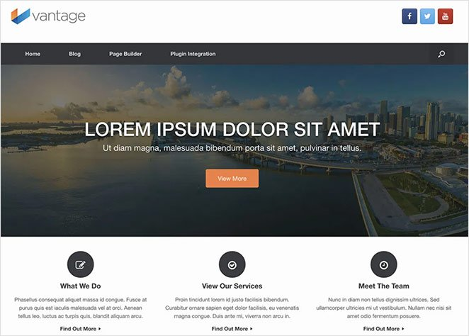 Vantage free, multipurpose WordPress theme