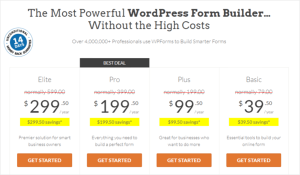 wpforms pricing page for review