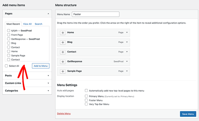 Add posts, pages, and categories to your new menu