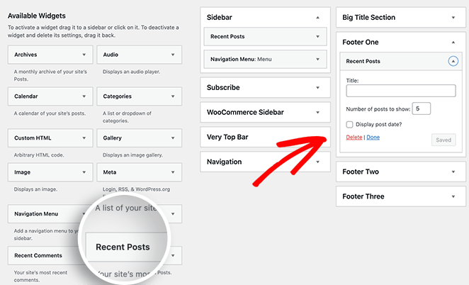 add a widget to your WordPress footer area