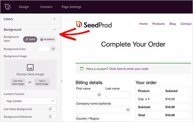 Customize the woocommerce checkout page background settings