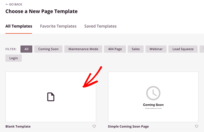 choose the blank landing page template