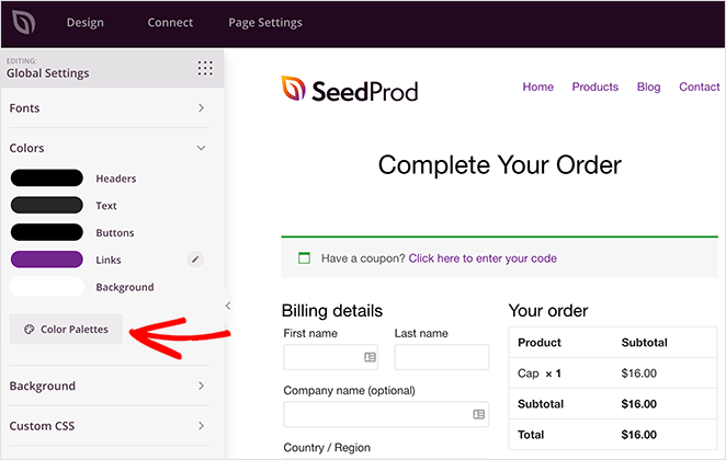 Customize the woocommerce checkout page color settings