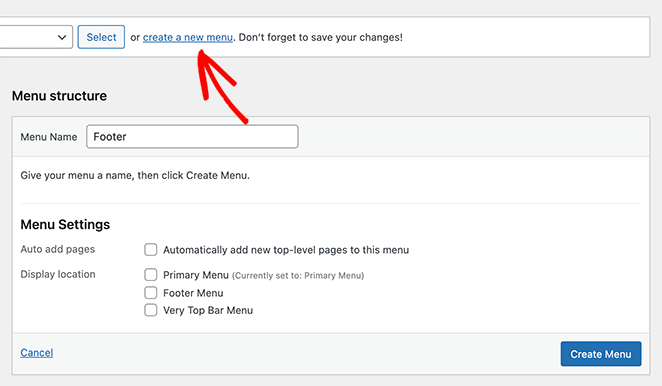 Create a new WordPress menu