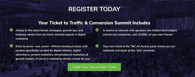 Digital Marketer traffic and conversion summit cta example