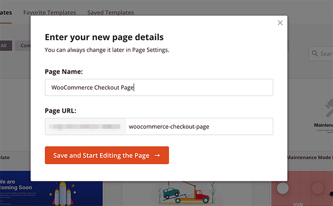 Enter your checkout page name and URL