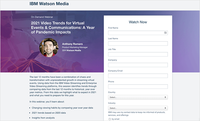 IBM Watson webinar registration page example