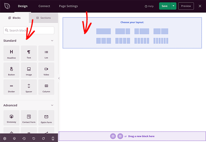 SeedProd's drag and drop landing page editor