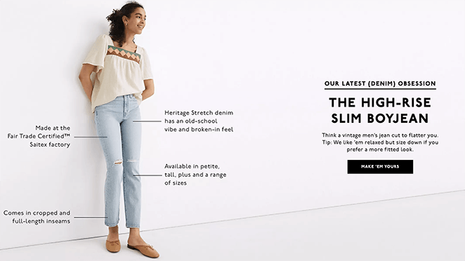 Madewell call to action examples