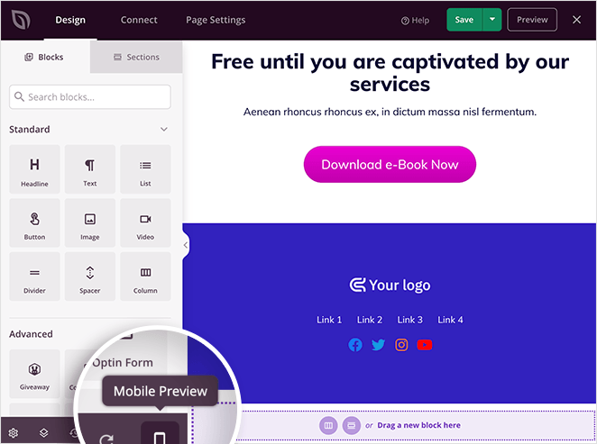 Click the mobile icon to preview your landing page footer