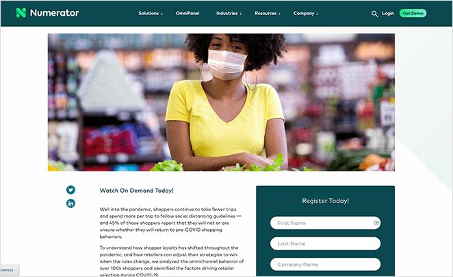 Numerator webinar registration page example