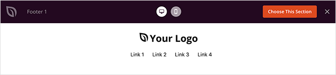 Preview the footer section and click the choose this section button