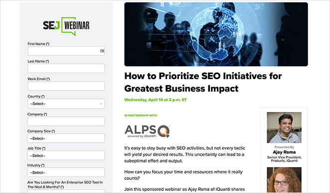 Search engine journal webinar page example
