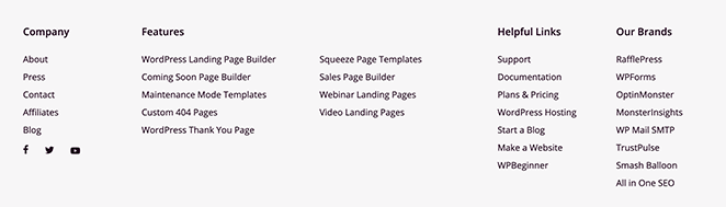 Example of SeedProd's WordPress footer area