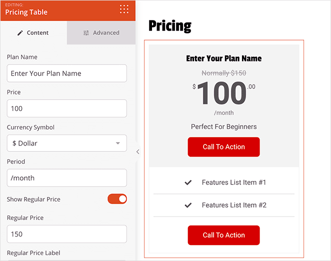 SeedProd pricing table block