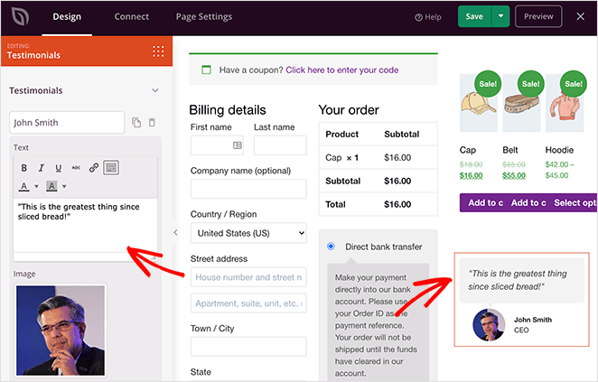 Add testimonials to your woocommerce checkout page