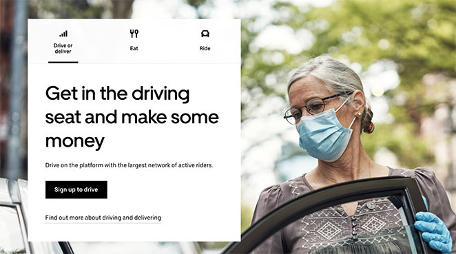Uber call to action example