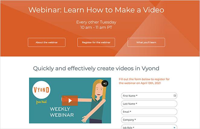 Vyond webinar registation page example