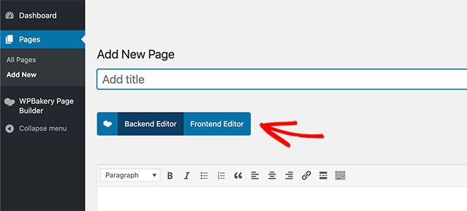 WPBakery backend and frontend editor button