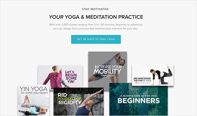 Yoga International call to action example