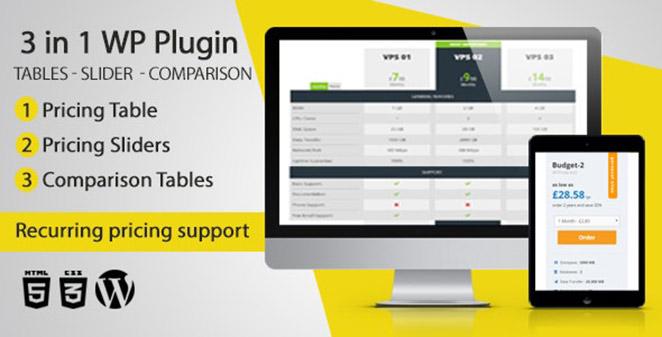WordPress Pricing Tables, Sliders & Comparison Tables plugin