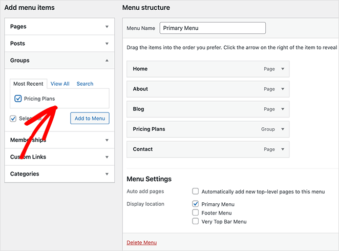 Add your pricing page to your membership site navigation menu