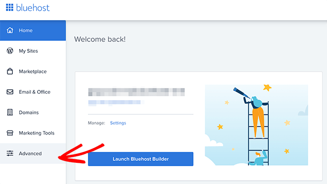 Click the Adanced tab in Bluehost