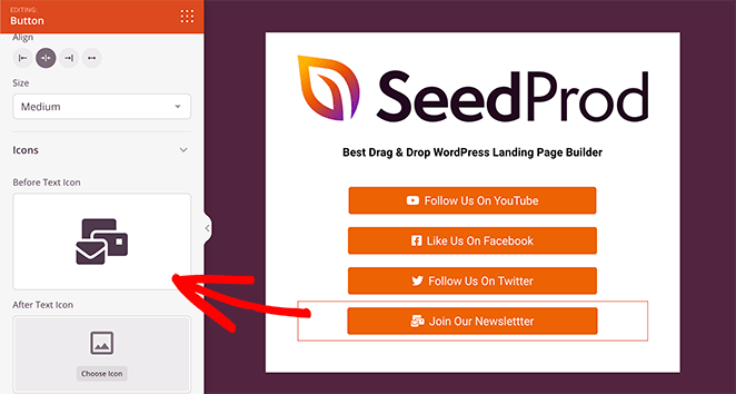 Add new button icons to your links