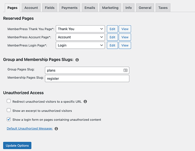 Configure your MemberPress page settings