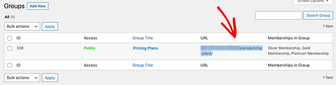 Copy the pricing page URL