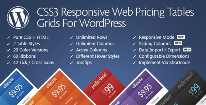 CSS3 Responsive WordPress Compare Pricing Tables Grids