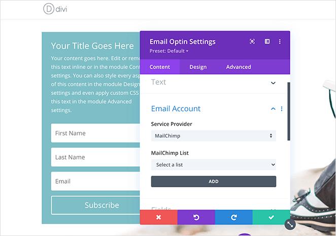 Divi email optin settings