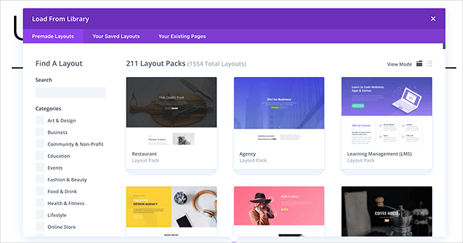 Divi templates library