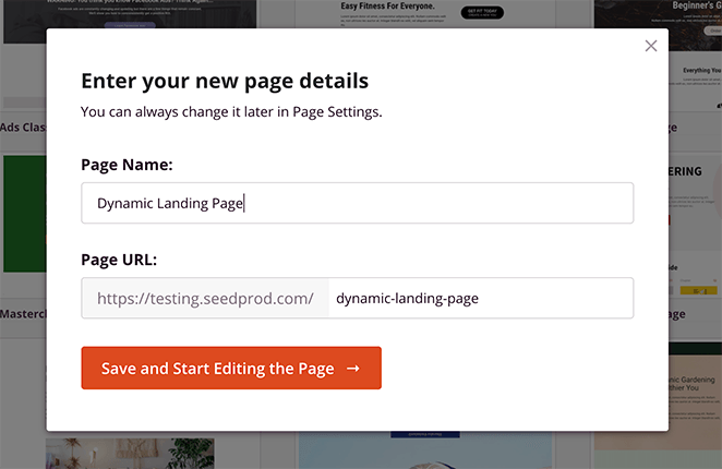 Give your landing page a name and URL
