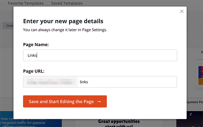 Enter a name for your link in bio landing page