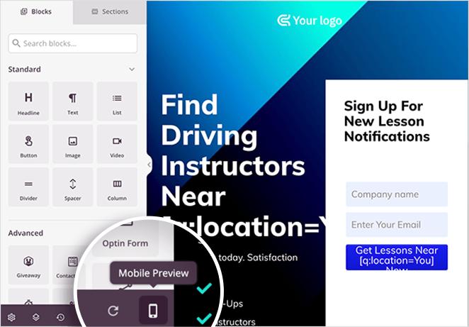 Click the mobile preview icon