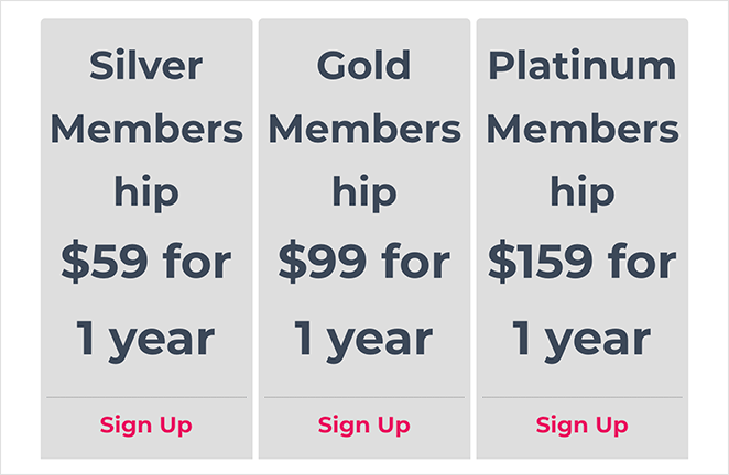 Preview of memberpress pricing page