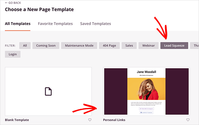 Choose the personal links landing page template
