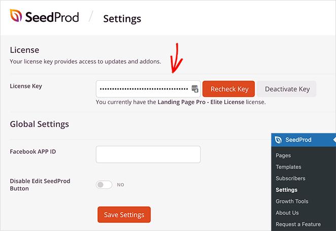 Verify your seedprod license key